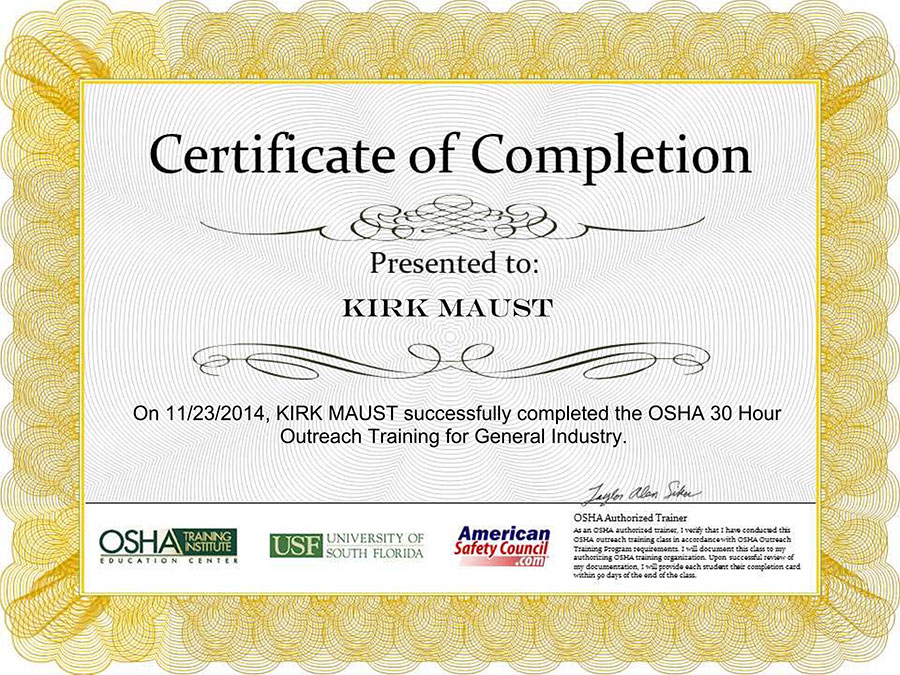 Osha certificate of completion bing images for Osha 10 certificate template