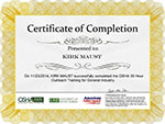 OSHA 360 Training Completion Certificate