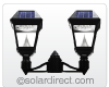 "Imperial II Outdoor Solar LED Mount Light. Double Head Fitter (for 3"" dia. post) GS-97NF2 - FREE SHIPPING"