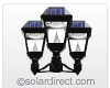 "Imperial II Outdoor Solar LED Mount Light. Triple Head Fitter (for 3"" dia. post) GS-97NF3 - FREE SHIPPING"