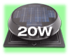 SunRise Solar Attic Fan - Round - with 20 Watt Attached Solar Panel for south facing roofs. Flat Base Model with Thermostat RFB 1250 FT